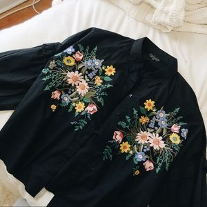 Topshop Tops - TOPSHOP Embroidered Button Up Top